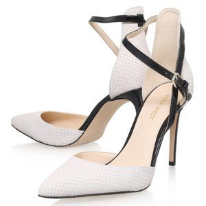 NINE WEST $120 NIB Leather Off-White & Black Heels